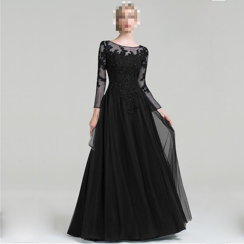 Hot Sale Scoop Neck A-Line Tulle Floor-Length Mother Of The Bride Dress For Wedding Party
