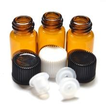 10 قطعة 2 مللي زجاجة صغيرة العنبر الزجاج مع المخفض فتحة وغطاء قوارير زيت طبيعي صغير