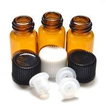 10Pcs 2Ml Mini Amber Glazen Fles Met Opening Verloopstuk En Cap Kleine Etherische Olie Flesjes