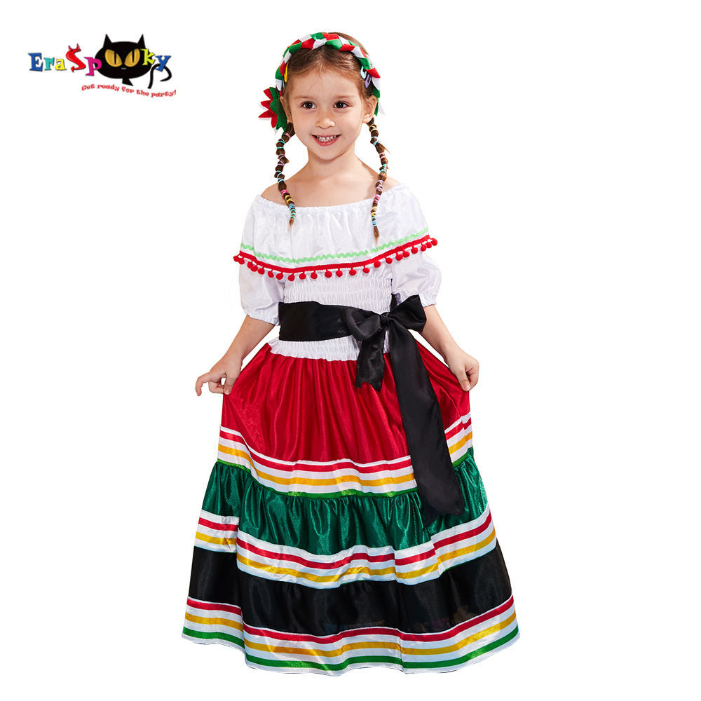 Eraspooky Traditional Folk Mexican Dress Girls Halloween Costume For Kids Mexico Carnival Party Dance Performance Fancy Dress