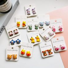 2021 new cute children's earrings cute cartoon no pierced anti-pain student ear clip bear rabbit pink piggy fashion jewelry