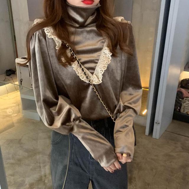 Sllsky Lace Ruffle Patchwork Women Velour Blouse Vintage Long Sleeve Half High Collar Shirt 2020 Autumn Winter Basic Blouse 4