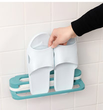 Wall mounted sapato organizador rack cozinha chinelos dobrável titular sapatos cabide auto adesivo toalha de armazenamento
