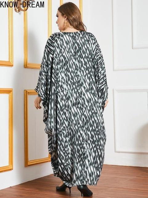 KNOW DREAM Plus Size Dress Large Size Oversized Loose Printed Bat Long Sleeve Robe Muslim Women Dress Woman Dress 5