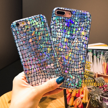 KSTUCNE Laser Rainbow Gradient Phone Case For IPhone7 8Plus Colorful Crocodile Print Leather Back Cover for Iphone6 X 6Plus