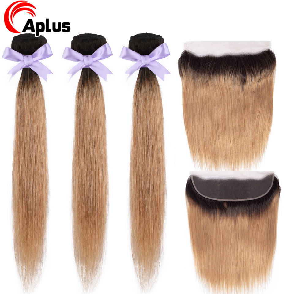 Aplus Ombre Bundles With Frontal Peruvian Straight Hair 1B 27 Two Tone Remy Hair Ombre Blonde Bundles With Lace Frontal Closure