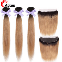 Aplus Ombre Bundles With Frontal Peruvian Straight Hair 1B 27 Two Tone Remy Hair Ombre Blonde Bundles with Lace Frontal Closure(China)