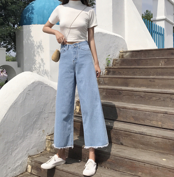 цена на Women's jeans spring new wild high-waisted denim cropped pants retro raw-edge loose wide-leg pants casual street style jeans