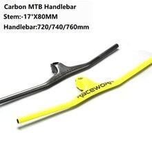Carbon Faser Lenker UD Matt One förmigen Integrierte Lenker Mit Vorbau 720/740/760mm Für MTB DH Mountainbike Fahrrad Teile