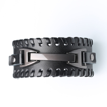 Punk Men's Cowhide Leather Bracelet Adjustable Charm Woven Leather Bracelet Men's Bracelet