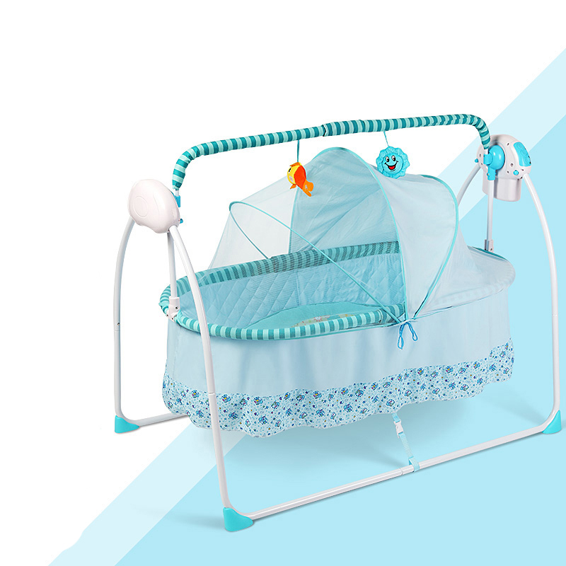 Crib Electric Cradle Bed Portable Folding Baby Rocker Neonatal Multifunctional Bed With Mosquito Net Bb Bed