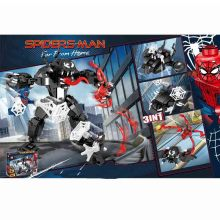цена 3 IN 1Avengers 4 Spider Man Vs Venom Building Blocks Bricks Boy Toys B718 онлайн в 2017 году