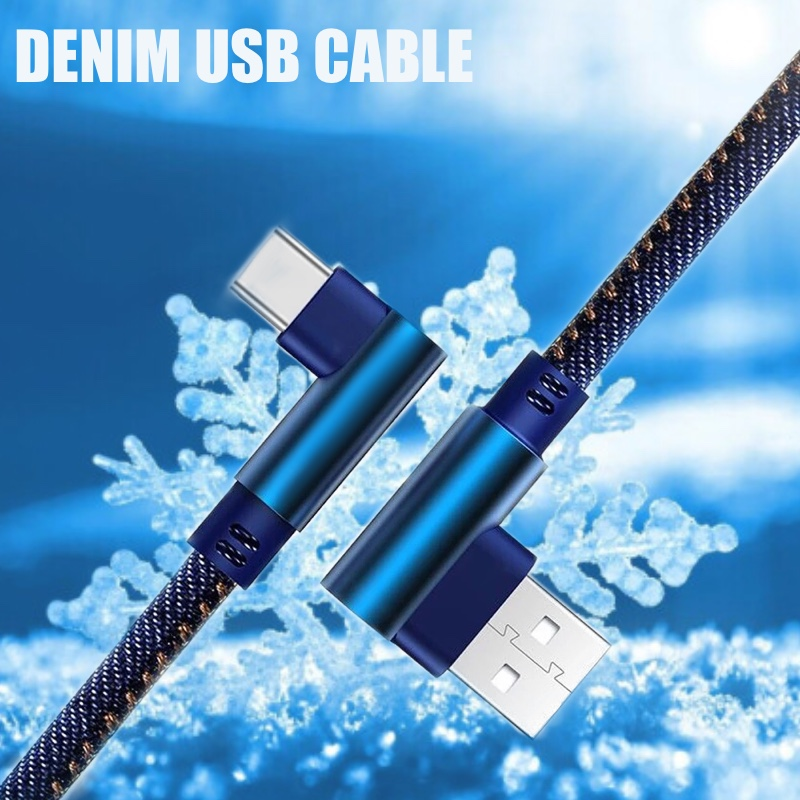 0.25m 1m 2m Denim Micro USB Cable 90 Degree Elbow Plug USB Cord For Samsung Mobile Phone Charging USB For Xiaomi Huawei Iphone