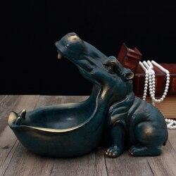 3D Hipopótamo Estátua Escultura Casa Acessórios de Decoração de Mesa Caixa de Armazenamento de Decoração de Casa Estatueta Ornamento Decorações da Festa de Casamento