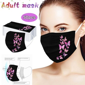 50pc Safety Face Mask Fashion Breathable Masks Disposable Dustproof Mouth Masks 3 Layer Elastic Earloop Mouth-muffle Mascarillas cotton dustproof anime cartoon lucky bear mask combed cotton skull mouth masks half muffle face mask 1 piece