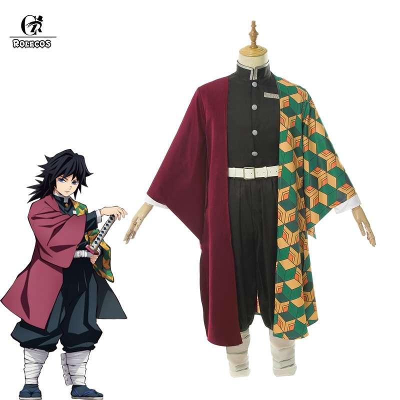 ROLECOS демон убийца томилочка Giyuu костюм аниме для косплея Kimetsu без Yaiba Для мужчин кимоно костюм, полный набор для Хэллоуина