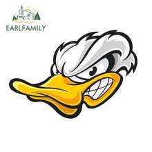 EARLFAMILY 13cm x Angry White Duck Head Cartoon Funny Car Stickers RV VAN 3D DIY Fine Decal Bumper Trunk Truck Graphics