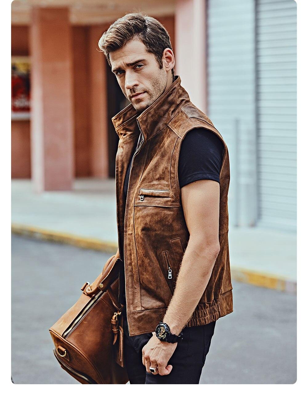 H495d4891d1244c988339d7cea433e4d0F Mew Men's Leather Retro Vest Stand Collar Men's Motorcycle Casual Vest