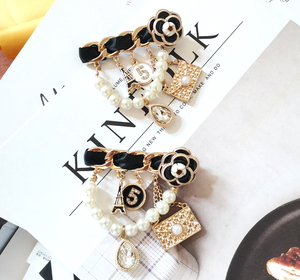 Retro Big Camellia Crystal Chain Tassels Brooches No. 5 Pearl Tassel pins for Women Clothes Accessories cc Gift