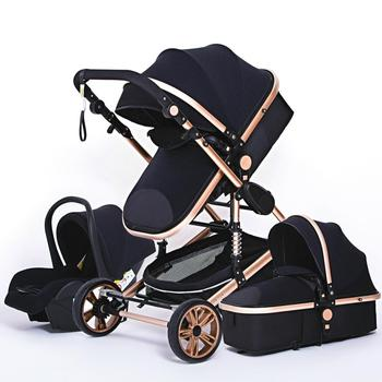 Luxurious Baby Stroller 3 in 1 Genuine Portable Baby Carriage Fold Pram Aluminum Frame High Landscape Stroller for Newborn Baby image