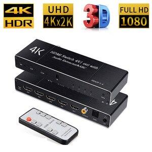 Image 1 - Uhd hdmi 2.0 switch 4 k hdr 4x1 adaptador switcher com extrator de áudio 3.5 jack cabo fibra óptica arco divisor para hdtv ps4