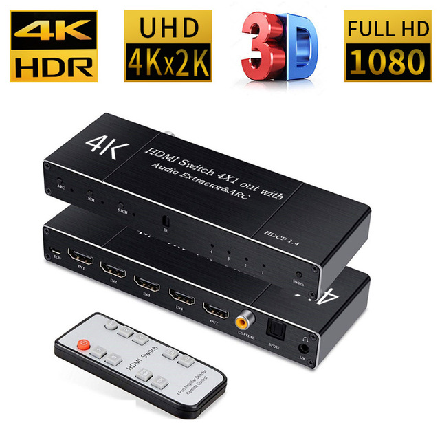 Uhd hdmi 2.0 switch 4 k hdr 4x1 adaptador switcher com extrator de áudio 3.5 jack cabo fibra óptica arco divisor para hdtv ps4