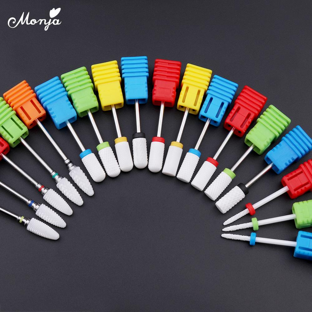 Monja Nail Drill Bits Ceramic Milling Cutter Tips Filing Polishing Grinding For Manicure Electric Machine Nail Tools