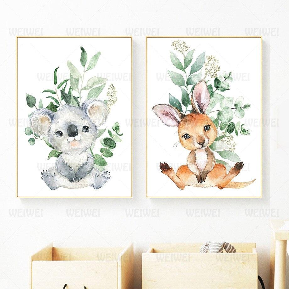 Декоративная картина для детской комнаты, мультяшный кенгуру, украшение для гостиной, Картина на холсте, Настенная картина, Постер для дома