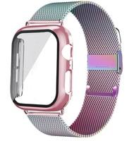 Cristal, funda y correa para Apple watch, accesorios de 44mm, 40mm, 38mm y 42mm, pulsera Milanesa De Arco Iris iwatch series 3 4 5 se 6