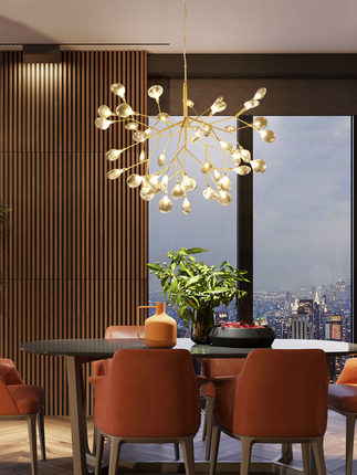 Firefly Pendant Lamp Olive Branch Hanging Lights Art Home Decorative LED Europe Style Petal AC110/220V Foyer Living Dinning Room