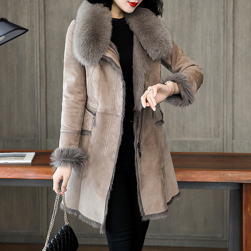Real Faced Double Fur Coat Real Leather Jacket Winter Coat Women Fox Fur Collar Natural Sheep Shearling Jackets MY4202 S