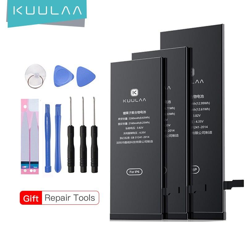 KUULAA Batterie Pour iPhone 5s 6 6S 7 8 Plus X 6Plus 10 Original Haute Capacité Bateria Remplacement Batterie Pour iPhone6 iPhone7