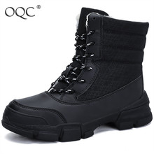 Winter Warm Women Boots Lace-up Platform Snow Boots Ladies Mid-Calf Thick Fur Lined Otudoor Boots Mujer  D30