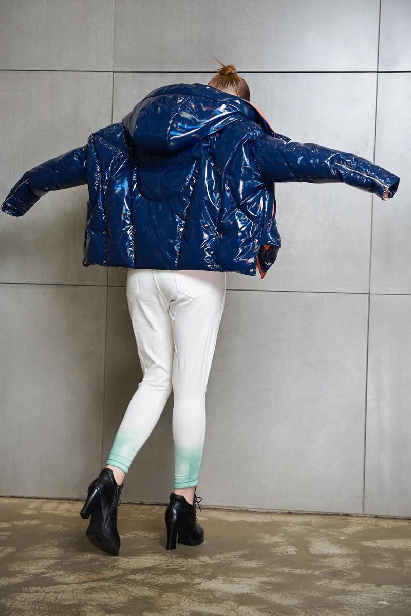 90% White Duck Down Jacket Women Short Parkas 2020 New Fashion European Women's Bright Face Down Coats Female Windbreaker LX2318