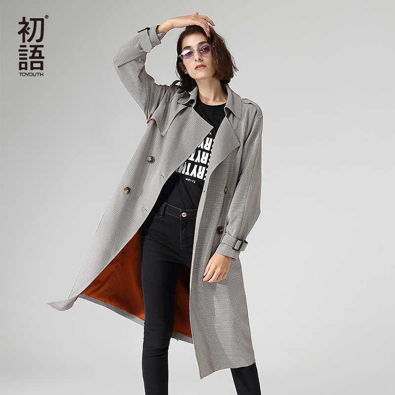 Toyouth escritório senhoras workwear longo trench coats duplo breasted manga longa houndstooth outerwear trincheira