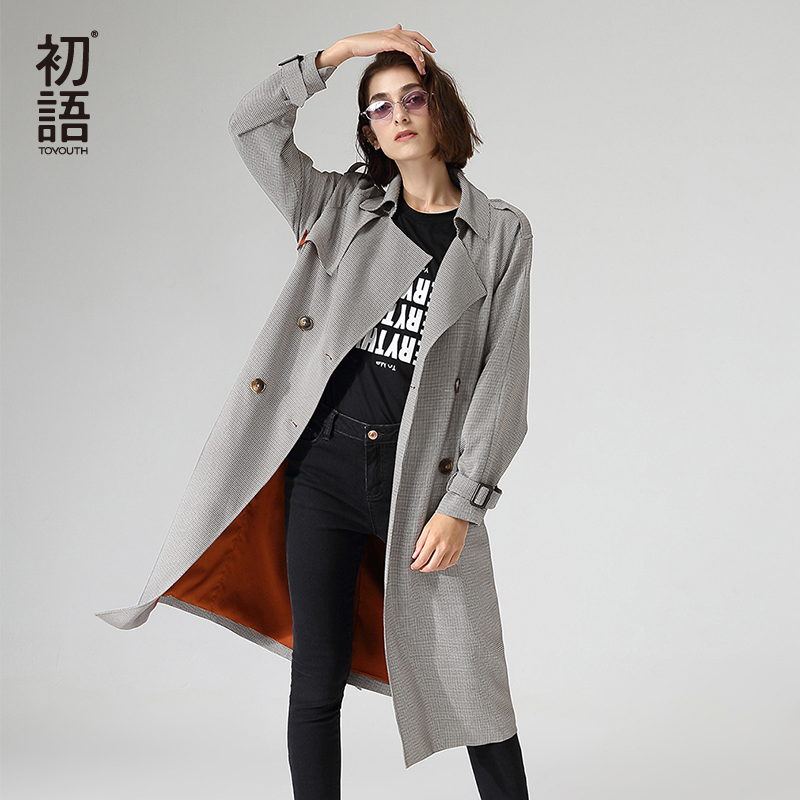 Toyouth Office Ladies Workwear Long Trench Coats Double Breasted Long Sleeve Houndstooth Outerwear Trench