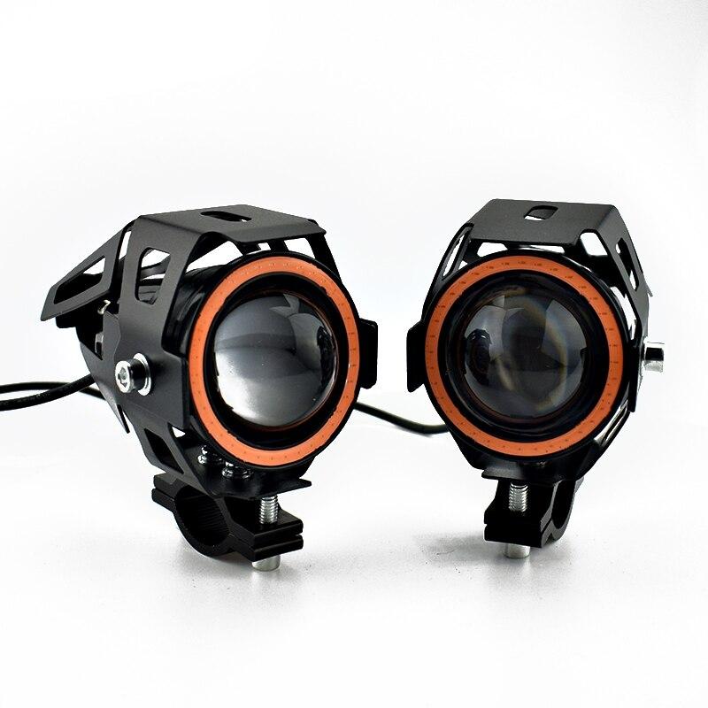 lowest price Motorcycle work driving lights 12v 125w U7 led motorbike headlights spotlights 6000k angel eye lamp  Moto auxiliary fog lights
