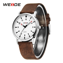 WEIDE New Mens Watch Fashion Simple Model Leather Strap White Dial Clock Top Brand Military Quartz Wrist Watch Relogio Masculino weide sports luxury clock hour quartz white dial brown leather strap wristwatch men s relogio masculino roleingly orologi uomo