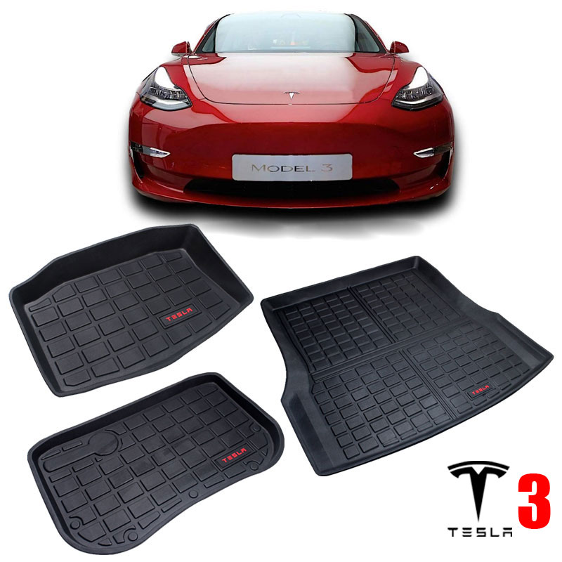 TPO Rubber Trunk Mat For Tesla Model 3 2017 2018 2019 CAR Accessories Front Trunk Floor Mats Storage Mats Rear Cargo Tray