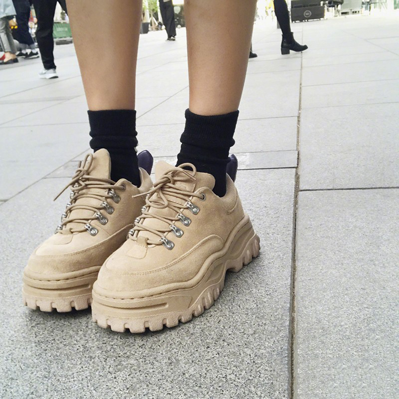 Fashion Women Thick Sole Lace Up Muffin Creepers Platform Shoes Round Toe Black European China Elevator Harajuku Platform Heels