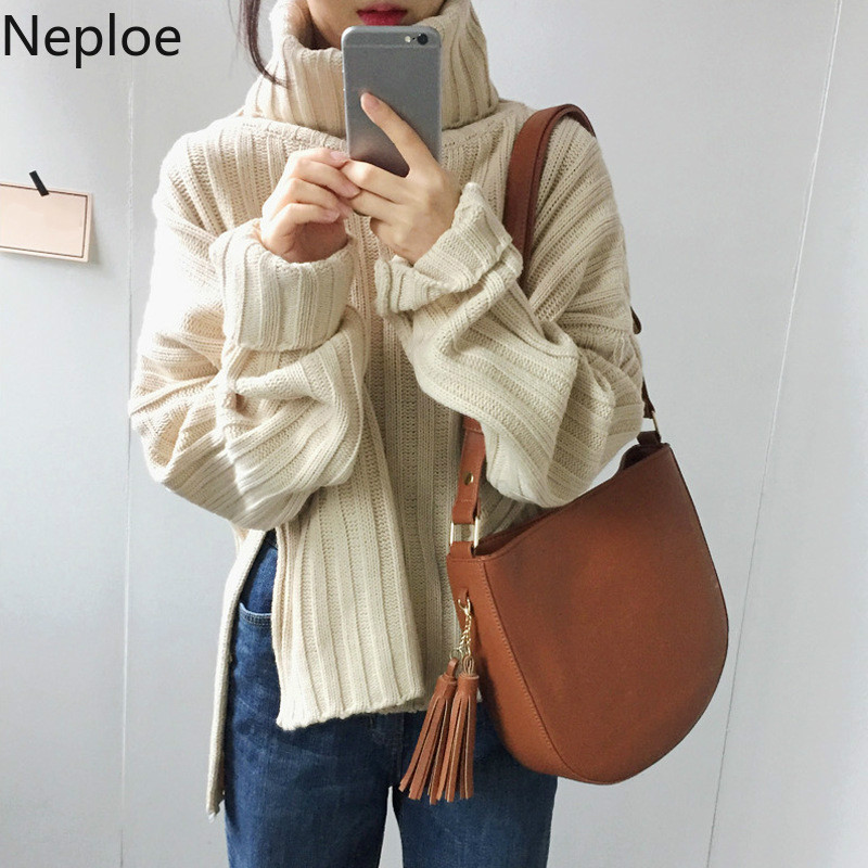 Neploe 2019 Autumn Winter Sweater Women Turtleneck Long Sleeve Hem Split Thick Warm Knit Pullover Fashion Clothes Jumper 54336