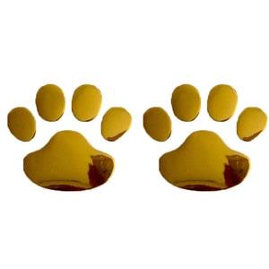 Image 4 - 2 pièces Voiture Autocollant Conception Cool Patte 3D Animal Chien Chat Ours Empreintes Empreinte Autocollant Voiture Autocollants Argent Or Accessoires Auto