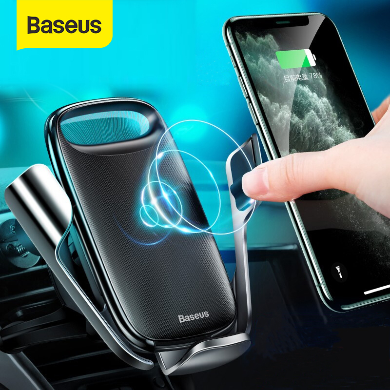 Baseus Wireless Car Phone Holder 15W Fast Charging Electric Stand For Samsung Iphone 11 Pro Max Phone Mount Gravity Auto Support