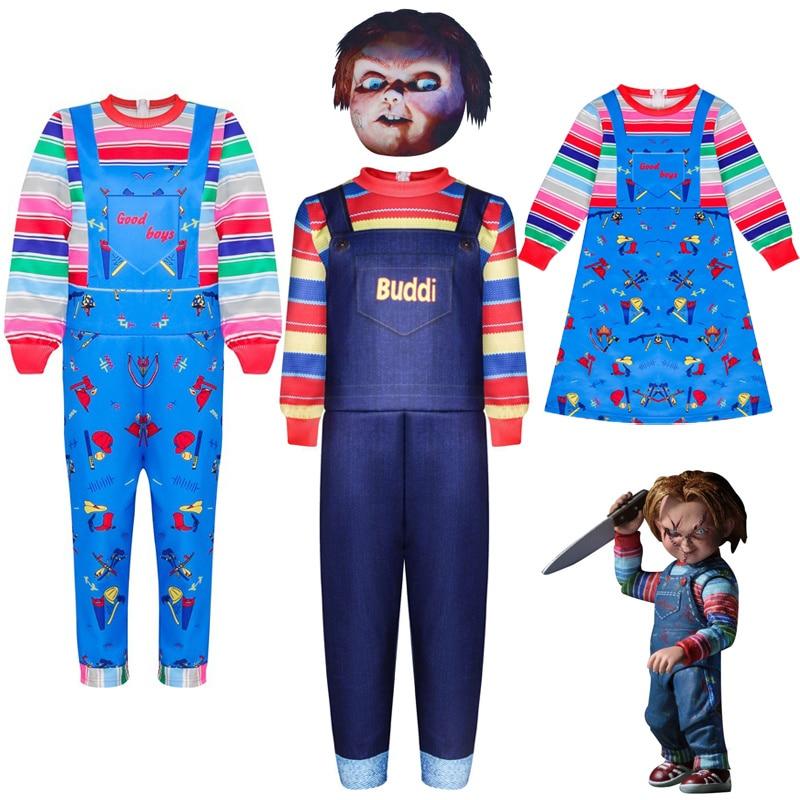 Новая детская ролевых игр Чаки Костюм призрак на спине для душа кукла полный набор маскарадный костюм костюмы для игр