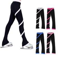 Женские штаны для катания на коньках, брюки для фигурного катания, колготки, леггинсы с флисовой подкладкой, тренировочные брюки для катания на коньках, длинные штаны