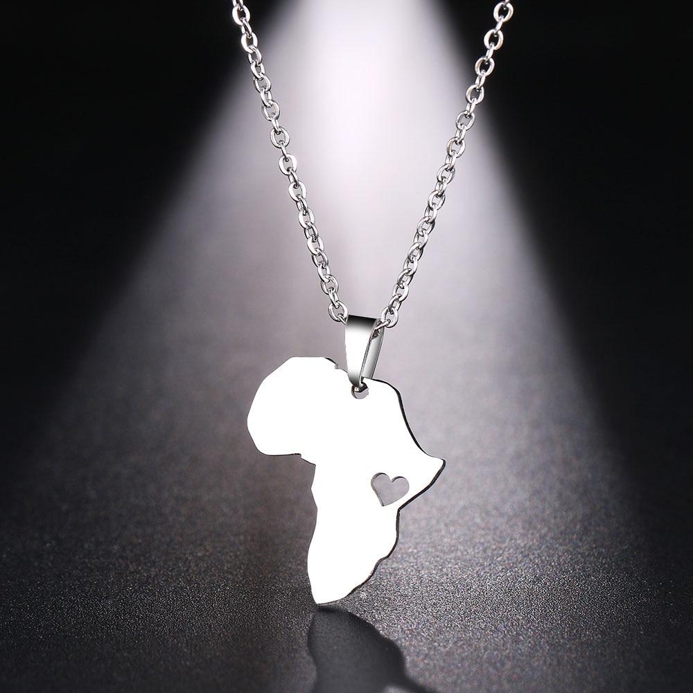 DOTIFI ожерелье из нержавеющей стали для женщин и мужчин, Африканская Карта золотистого и серебристого цвета, ожерелье с кулоном, ювелирные изделия для помолвки - Окраска металла: Silver