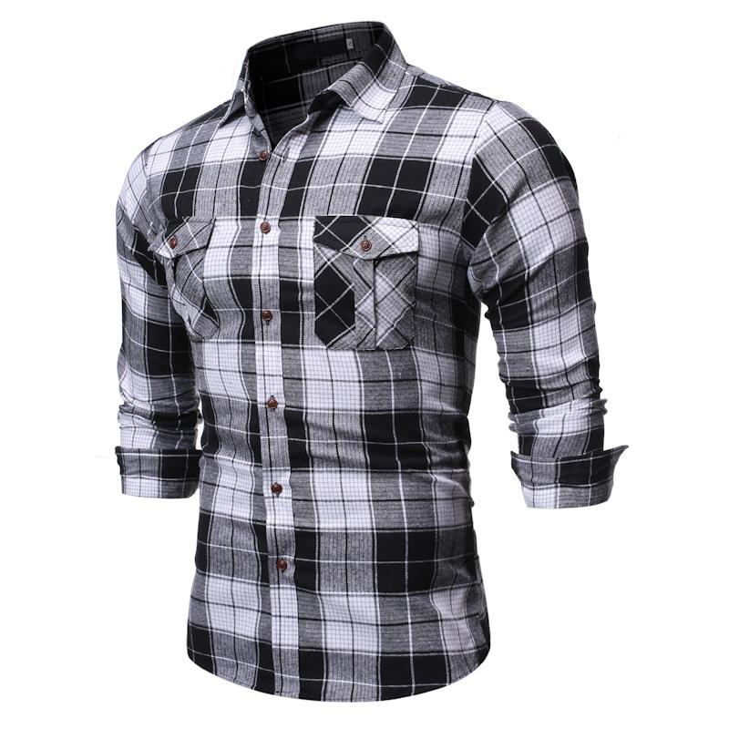Plaid Stripe pattern Men's Formal Shirt Casual Lapel Men Long Sleeve Shirt for Man Double Pocket Black White