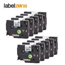 10 Pcs Compatibel Voor Broer Label Tape Tze 231 Tze231 Tze 231 P Touch Label Printer Lint Label Maker 12mm * 8 M Zwart Op Wit