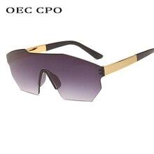 OEC CPO Fashion Big Frame Rimless Sunglasses Women Oversized Candy Color Female One Piece Sun Glasses Men Shades UV400 O107