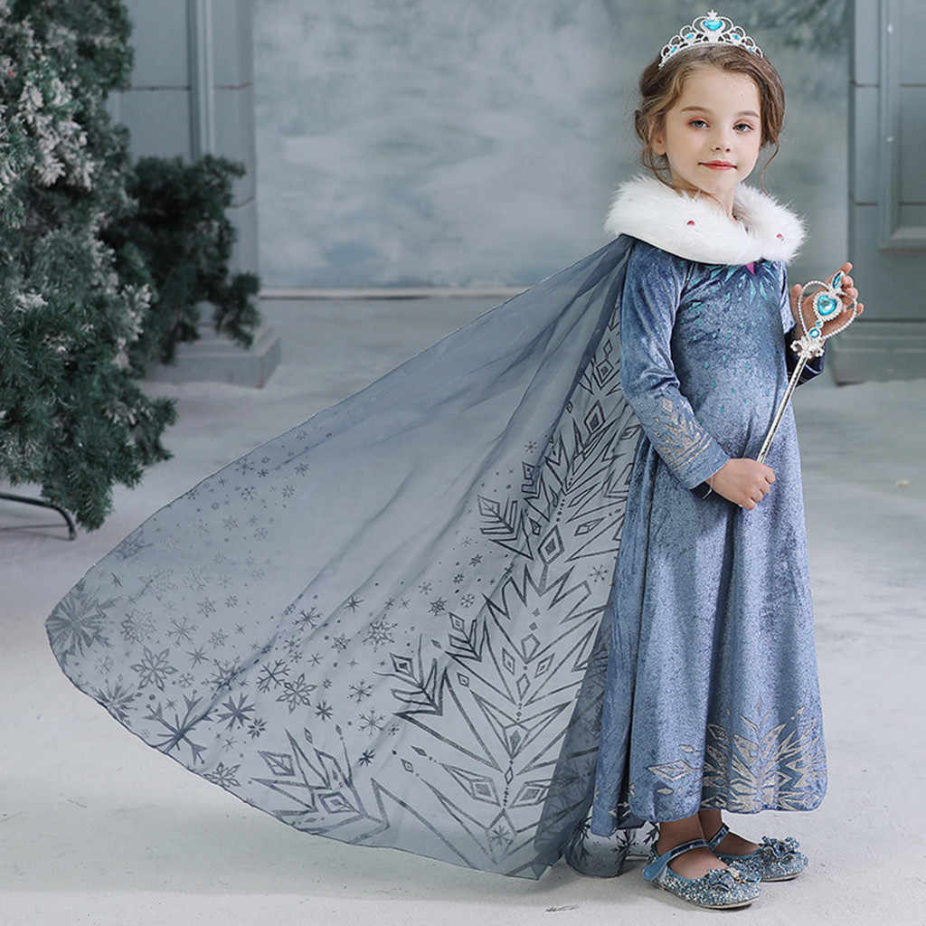 Winter Girls Princess Anna Elsa Cosplay Costume Blue Dress For Girl Queen Elsa Dresses Anna Clothing For Girls Vestidos De Fiest